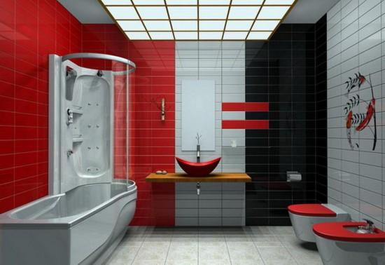 ванная комната красного цвета (4)