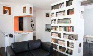 Стильные полки для книг из гипсокартона