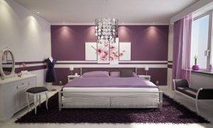 Модная спальня фиолетового цвета