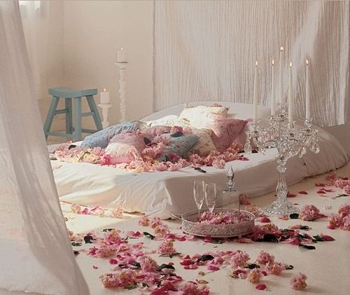 Valentines Day romantic bedroom decoration with balloons