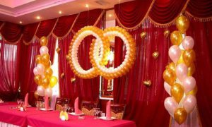 Украшение тканью зала на свадьбу