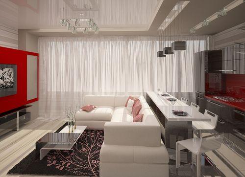 Дизайн в евродвушке гостиной