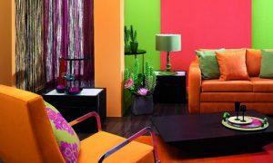 Яркие цвета стен в интерьере