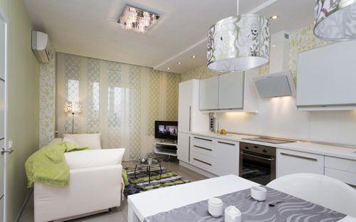 Кухня 16 метров дизайн фото с диваном