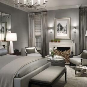 Спокойный дизайн спальни в серых тонах