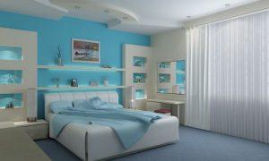 Как сделать спальню в голубых тонах