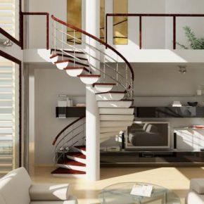 Каким сделать интерьер гостиной с лестницей в доме