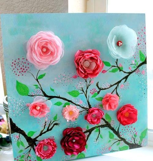 Картина из цветов из ткани своими руками 9