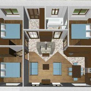 Варианты планировки одноэтажного дома 8 на 8