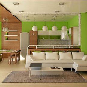 Современный интерьер кухни в квартире-студии