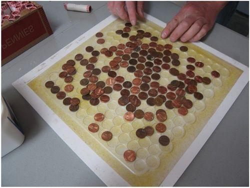 Приклеивание монет на квадрат