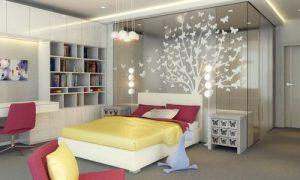 Интерьер квартиры-студии со спальней и кухней