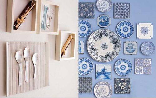 Украшение кухонной стены декоративными элементами