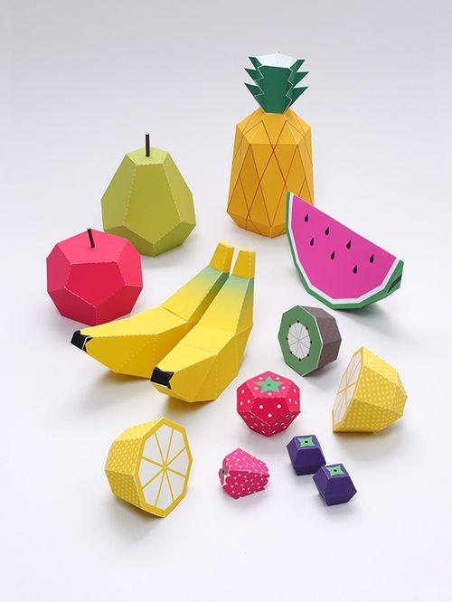Объемные фрукты из бумаги