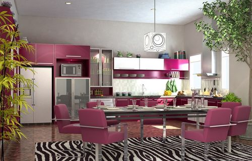 Цвет фуксия на кухне