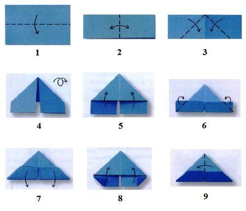 Схема складывания модулей оригами треугольной формы