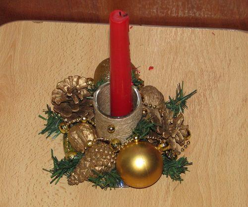 Новогодний подсвечник с основой из CD диска