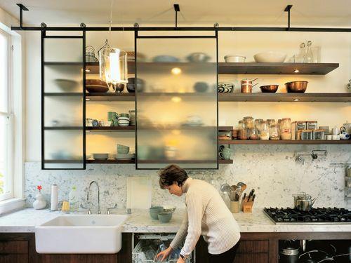 Навесные полки для кухни со стеклом