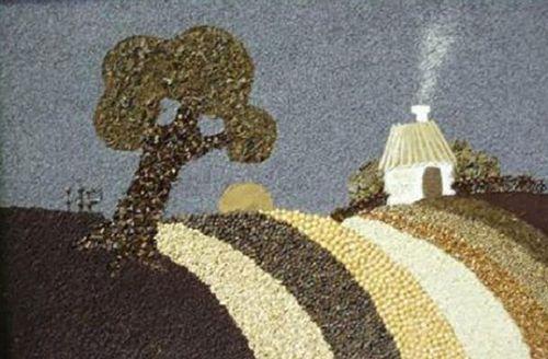 Пейзаж из круп и семян