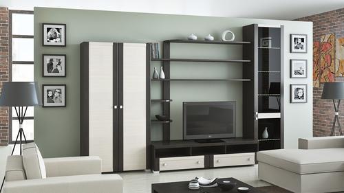Строгий лаконичный дизайн стенки в гостиную