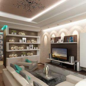 Модный интерьер гостиной, совмещенной со спальней
