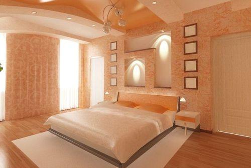 Нежный персиковый цвет в интерьере спальни
