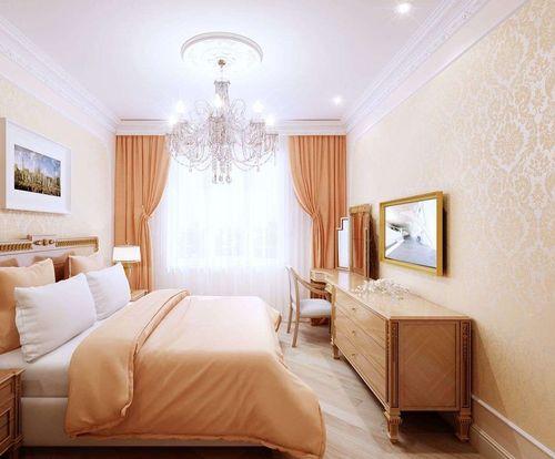 Спальня в персиковом цвете с кремовыми обоями