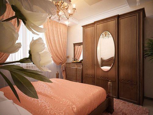 Персиковый ковер в спальне