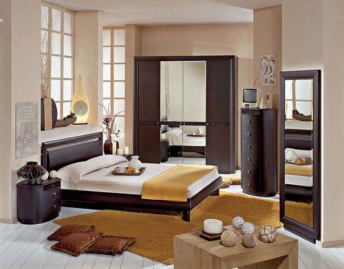 Дизайн спальни цвета венге