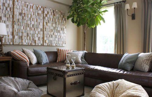 Кожаный угловой диван в интерьере