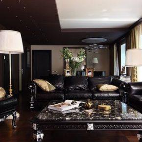 Варианты темного интерьера гостиной