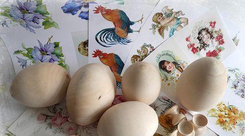 Деревянные яйца и картинки