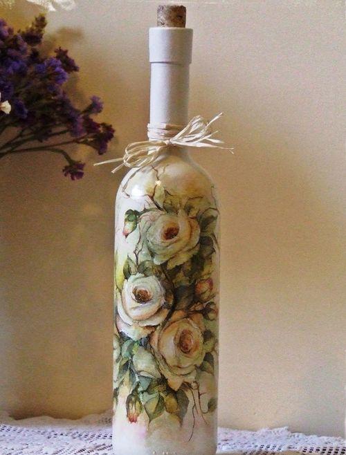Декорирование бутылок в стиле шебби-шик