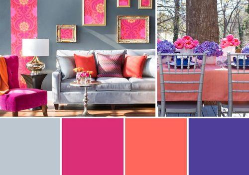 Теплые цвета в сочетании с фиолетовым