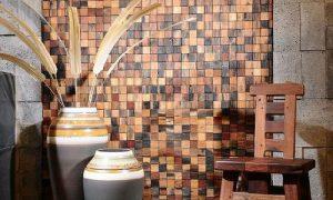 Оформление стен деревянной мозаикой