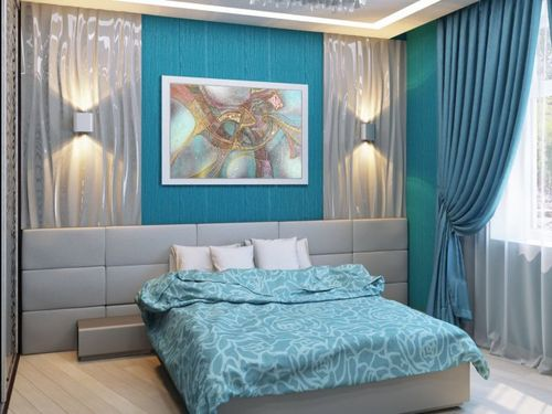Спальня с голубыми нотками