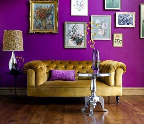 Лиловый и золотой в гостиной
