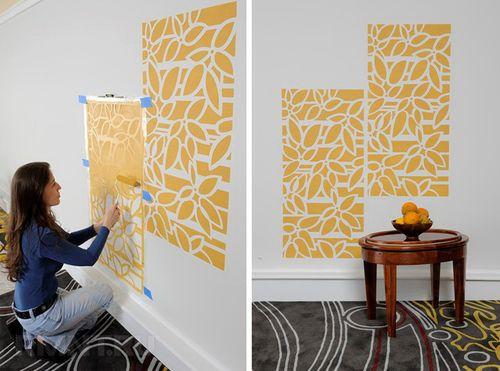 Декорирование стен трафаретной росписью