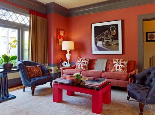 Дизайн гостиной в терракотовом цвете