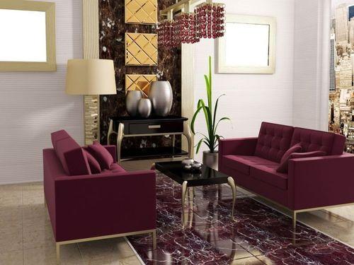 Светлые стены и мебель в бордовом цвете