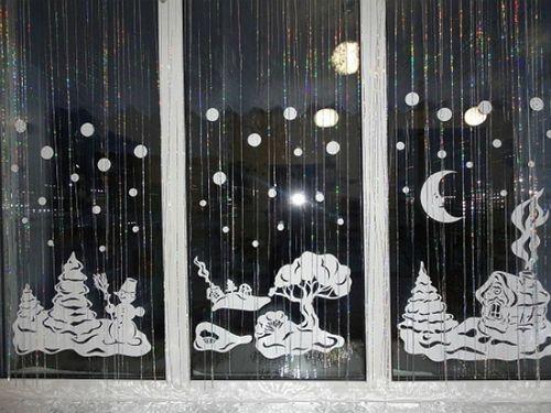 Праздничное оформление окна