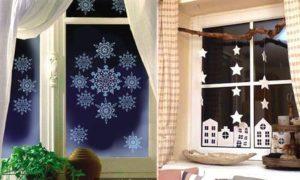 Интересные идеи для новогодних украшений окон