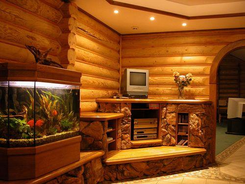 Красивая отделка стен деревом