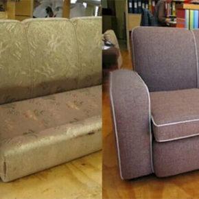 Как самостоятельно перетянуть старый диван
